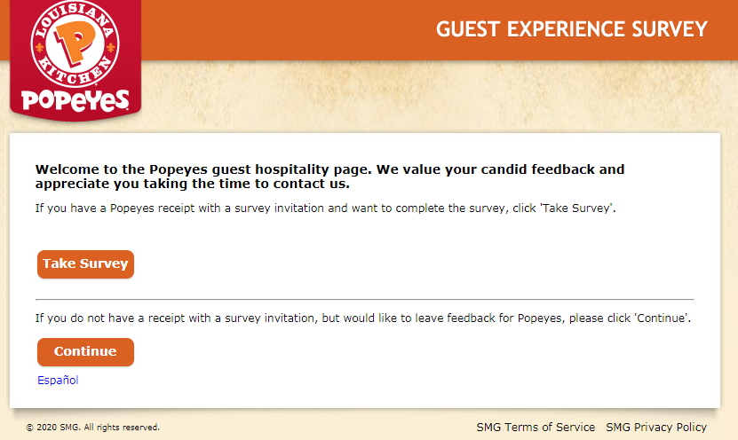 Popeye's Guest Experience Survey